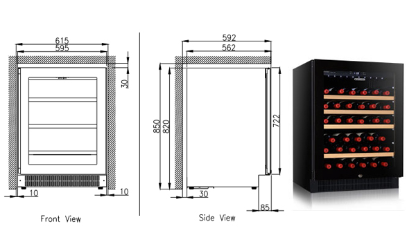 מעולה מקרר יין אינטגרלי דגם - ALV40SG2E חברת Vintec - לאיחסון 40 בקבוקי DB-45